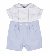 Florence Eiseman Baby Boys Button On Suit - Royal Blue Seersucker
