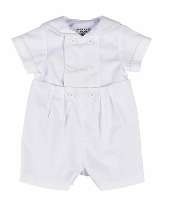 Florence Eiseman Baby Boys Dressy White Finwale Pique Sailor Collar Button On