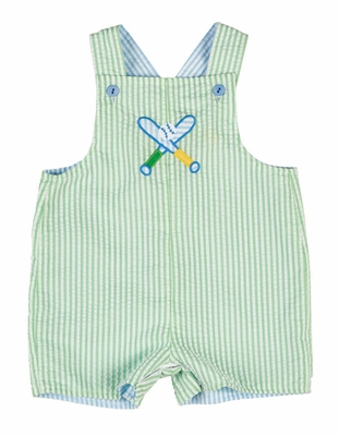 Florence Eiseman Baby Boys Green / Blue Seersucker - Shortall - Reversible - Golf / Baseball