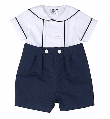 Florence Eiseman Baby Boys Navy Blue / White Pique Button On Shorts Outfit