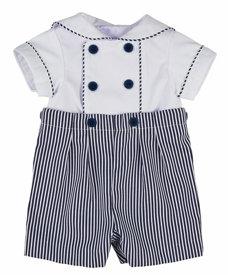 Florence Eiseman Baby Boys Navy Blue Striped Button On Outfit
