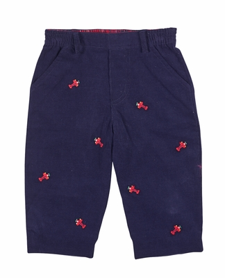 Florence Eiseman Baby / Toddler Boys Navy Blue Corduroy Pants - Embroidered Red Airplanes - Faux Fly