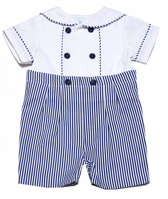 Florence Eiseman Baby Boys Navy Blue Seersucker / White Pique Button On Suit
