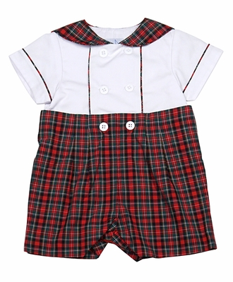 florence eiseman baby boys red christmas tartan plaid button on suit