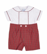 Florence Eiseman Baby Boys Red Holiday Plaid Button On Suit