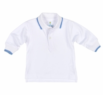 Florence Eiseman Baby Boys White Cotton Polo Shirt - Long Sleeves - Blue Tipping