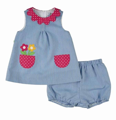 Florence Eiseman Baby Girls Blue Junior Pincord Bloomers Set with Flowers in Pocket