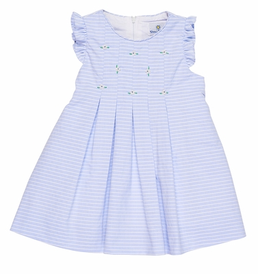 Florence Eiseman Baby / Toddler Girls Blue Stripe Pinpoint Dress - Hand Embroidered Flowers