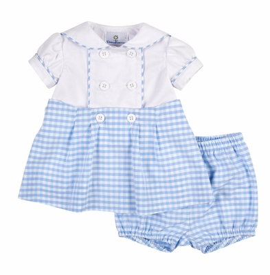 Florence Eiseman Baby Girls Blue / White Check Sailor Dress with Bloomers