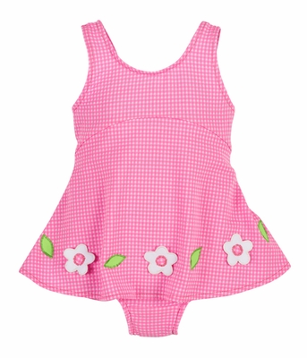 Florence Eiseman Baby Girls Pink Check Skirted Swimsuit with Flowers