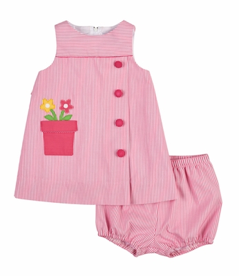 Florence Eiseman Baby Girls Pink Ottoman Dress with Flower Pot Pocket and Bloomers