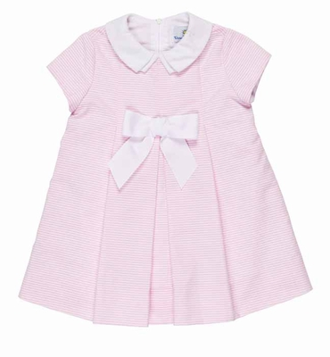 Florence Eiseman Baby Girls Pink Ottoman Float Dress with White Bow