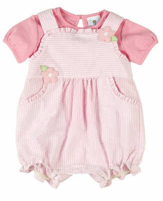 Florence Eiseman Baby Girls Pink Seersucker Romper with Pleated Knit Blouse