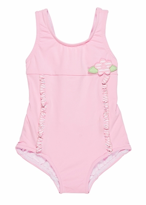 Florence Eiseman Baby Girls Pink Striped Ruffle Tank Swimsuit