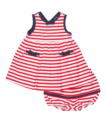 Florence Eiseman Baby Girls Red Striped Dress with Navy Blue Bows and Bloomers