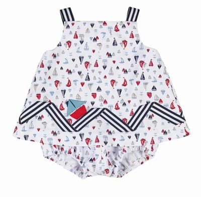 Florence Eiseman Baby Girls White / Navy Blue / Red Pique Nautical Print Skirted Romper