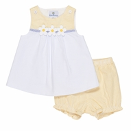 Florence Eiseman Baby Girls Yellow / Blue Seersucker Dress with Bloomers