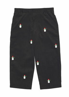 Florence Eiseman Baby / Toddler Boys Black Corduroy Pants - Embroidered Snowmen