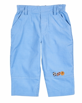 Florence Eiseman Baby / Toddler Boys Blue Pants with Sports Balls Embroidery