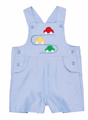 Florence Eiseman Baby / Toddler Boys Blue Pincord Shortall with Cars