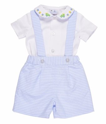 Florence Eiseman Baby / Toddler Boys Blue Stripe Suspender Shorts Set - Embroidered Train Shirt