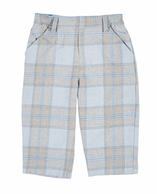 Florence Eiseman Baby / Toddler Boys Blue / Gray Plaid Faux Fly Pants