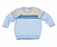 Florence Eiseman Baby / Toddler Boys Blue / Gray Sweater with Train