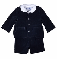 Florence Eiseman Boys Dressy Three Piece Eton Suit - Black Velvet