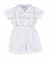 Florence Eiseman Baby / Toddler Boys Dressy White Finewale Pique Suspender Shorts Outfit