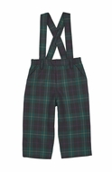 Florence Eiseman Baby / Toddler Boys Green / Navy Blue Plaid Suspender Pants - Removable Suspenders