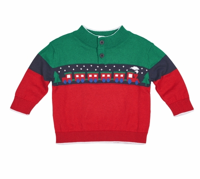 florence eiseman baby toddler boys green red blue jacquard train sweater