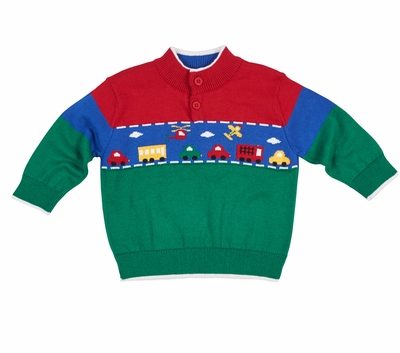 Florence Eiseman Baby Toddler Boys Green Red Blue Sweater With