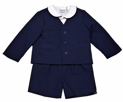 Florence Eiseman Boys Navy Blue Pique Eton Suits with Shirt