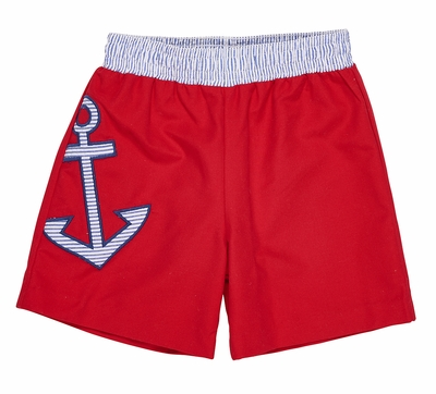 Florence Eiseman Baby / Toddler Boys Red Swim Trunks - Blue Anchor