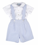 Florence Eiseman Baby / Toddler Boys Suspender Shorts Set with Shirt - Royal Blue