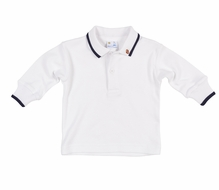Florence Eiseman Baby / Toddler Boys White Polo Shirt - Long Sleeves - Navy Blue Trim - Football Embroidery