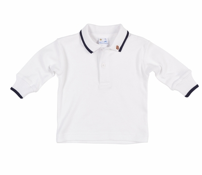 ba76f00a6 Florence Eiseman Baby / Toddler Boys White Polo Shirt - Long Sleeves - Navy  Blue Trim - Football Embroidery