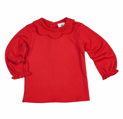 Florence Eiseman Baby / Toddler Girls Knit Blouse with Scallop Collar - Red