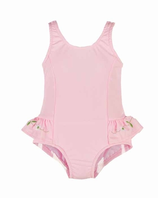 Florence Eiseman Baby / Toddler Girls Light Pink One Piece Swimsuit with Ruffles