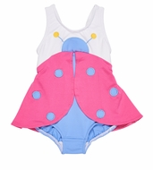 Florence Eiseman Baby / Toddler Girls Pink / Blue Ladybug Swimsuit