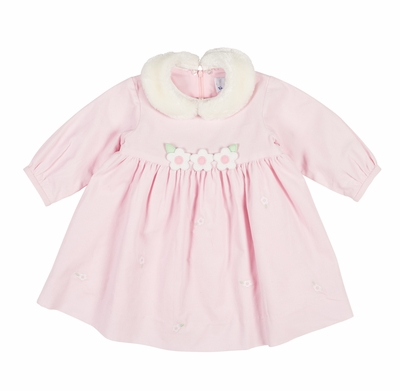 Florence Eiseman Baby / Toddler Girls Pink Corduroy Dress with Removable Faux Fur Collar