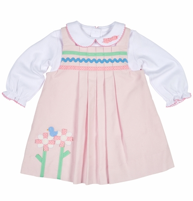 Florence Eiseman Baby / Toddler Girls Pink Corduroy Jumper Dress with Ribbon Flowers and Blouse with Bow