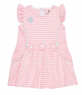 Florence Eiseman Baby / Toddler Girls Pink Striped Knit Dress with Butterfly