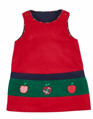 ad326d966 Florence Eiseman Baby / Toddler Girls Reversible Jumper Dress - Red with  Apples - Navy Blue with Flowers