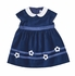 Florence Eiseman Baby / Toddler Girls Royal Blue Velvet Dress with Flowers and Ribbon Trim