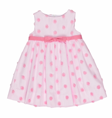 Florence Eiseman Baby / Toddler Girls Sleeveless Pink Tulle Rose Puffs Dress
