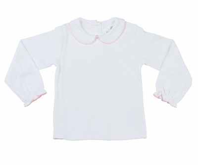 Florence Eiseman Baby / Toddler Girls White Knit Blouse - Pink Trim and Bow