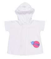 Florence Eiseman Baby / Toddler Girls White Knit Terry Cover Up with Hood - Pink Ladybug Pocket