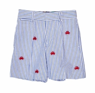 Florence Eiseman Boys Blue Seersucker Shorts - Embroidered Red Crabs