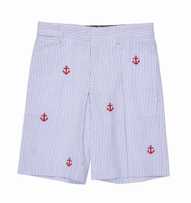Florence Eiseman Boys Blue Seersucker Shorts - Red Anchor Embroidery